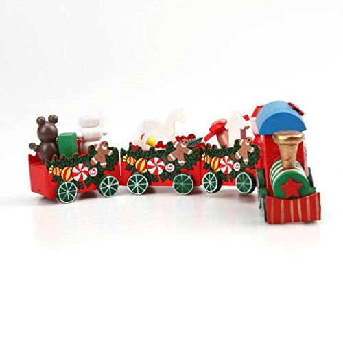 Xmas traintefamore 4 pieces wood christmas xmas train for House decoration pieces