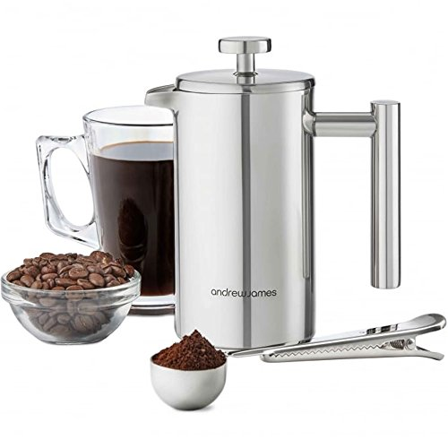 Andrew-James-Double-Walled-Stainless-Steel-Cafetiere-Gift-Set-With-Coffee-Measuring-Spoon-And-Bag-Sealing-Clip-0