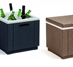 Allibert-Ice-Cube-Box-Graphite-or-Cappuccino-Camping-Beach-Picnic-Ice-Food-Coolbox-0