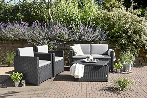 Allibert By Keter Monaco Outdoor 4 Seater Rattan Lounge