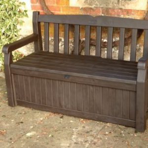GARDEN-BENCH-UNDER-STORAGE-KETER-140CM-RESIN-PATIO-FURNITURE-265L-LOCKABLE-0