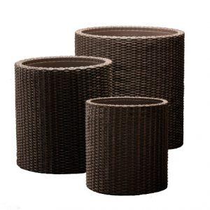 Keter-IndoorOutdoor-Rattan-Style-Garden-Planters-3-Size-Set-Round-Pots-Anthracite-0