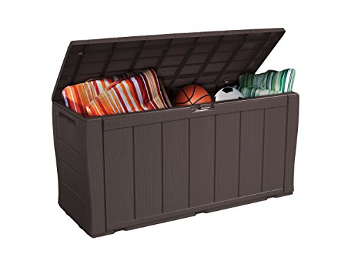 Keter Sherwood Outdoor Plastic Storage Box Garden Furniture 117 X 45 X 57 5 Cm Brown House