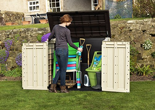 keter store it out max plastic outdoor garden storage shed beige and brown house and garden. Black Bedroom Furniture Sets. Home Design Ideas