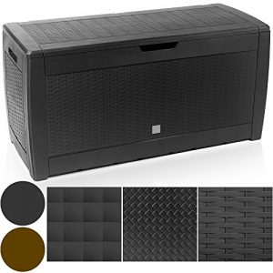 Deuba-Outdoor-Cushion-Plastic-Garden-Storage-Box-Patio-Chest-Poly-Rattan-Wicker-Color-Choice-BrownAnthracite-310-Liters-with-Lid-and-Wheels-0