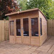 8x8-Shiplap-Wooden-Helios-Garden-Summerhouse-Curved-Roof-Double-Doors-Felt-Included-By-Waltons-0-0