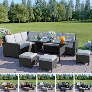 9-Seater-Corner-Rattan-Dining-Set-INCLUDES-RAIN-COVER-Garden-Sofa-Furniture-Black-Brown-Grey-0