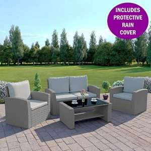 New-Algarve-Rattan-Wicker-Weave-Garden-INCLUDES-RAIN-COVER-Furniture-Patio-Conservatory-Sofa-SetSolid-Light-Grey-with-Dark-Cushions-0