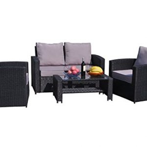Yakoe-4-Piece-Rattan-Garden-Furniture-Sofa-Set-Table-and-Chairs-0