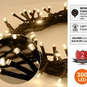 Christmas-Fairy-Lights-300-LED-Warm-White-Tree-Lights-Indoor-and-Outdoor-use-Christmas-String-Lights-Memory-function-Mains-Powered-Fairy-Lights-299m99ft-Lit-Length-with-5m164ft-Lead-Wire-GREEN-CABLE-0-0