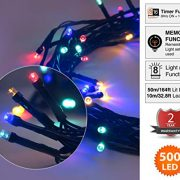 Christmas-Fairy-Lights-500-LED-Multi-Color-Tree-Lights-Indoor-and-Outdoor-use-Christmas-String-Lights-Memory-Timer-functions-Mains-Powered-Fairy-Lights-499m164ft-Lit-Length-with-10m33ft-Lead-Wire-GREE-0-0