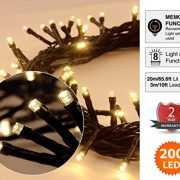 Christmas-Lights-200-LED-Warm-White-Tree-Lights-Indoor-and-Outdoor-use-Christmas-String-Lights-Memory-function-Mains-Powered-Fairy-Lights-199m66ft-Lit-Length-GREEN-CABLE-0-0