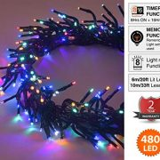 Cluster-Lights-480-LED-Multi-Color-Tree-Lights-Indoor-and-Outdoor-use-Christmas-String-Lights-8-Modes-with-Memory-Timer-function-Mains-Powered-Fairy-Lights-6m196ft-Lit-Length-with-10m33ft-Lead-Wire-GR-0-0