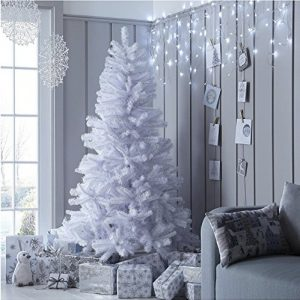 Garden-Mile-Large-Deluxe-Traditional-5ft-Or-6ft-White-Artificial-Pine-Christmas-Tree-Heavy-Duty-Indoor-Or-Outdoor-Xmas-Decoration-Tree-With-400-Tips-And-Sturdy-Metal-Stand-0
