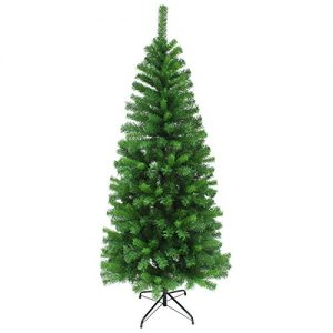 Slim-Artificial-Pine-Christmas-Tree-Traditional-Indoor-Decoration-4ft-5ft-6ft-0
