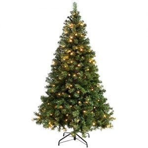 WeRChristmas-Spruce-Pre-Lit-Multi-Function-Christmas-Tree-Warm-White-LED-Lights-8-Setting-ControllerEasy-Build-Hinged-Branches-Emerald-Green-0