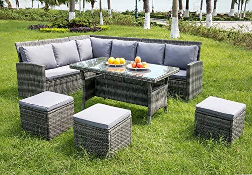 Leisure Zone 9 Seater Rattan Garden Furniture Set Corner