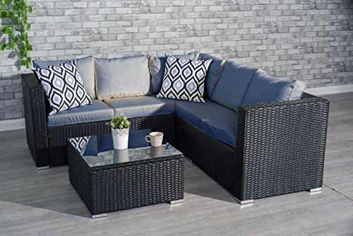 Yakoe garden furniture 5 or 9 seater rattan corner sofa for 9 seater sofa set